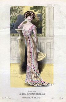 French Fashion 1909 1900s Spain cc womens dresses fans