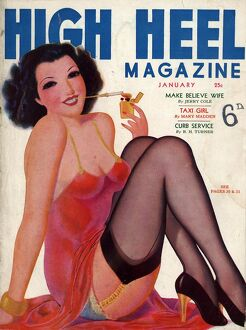 High Heel 1930s USA shoes stockings pin-ups glamour womens portraits magazines nylons