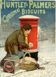Huntley and Palmers 1890s UK biscuits post box boxes snowballs snow winter cold