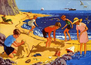 Infant School Illustrations 1950s UK beaches holidays playing seaside Enid Blyton beach