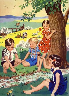 Infant School Illustrations 1950s UK playing Enid Blyton