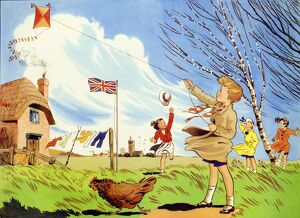 Infant School Illustrations 1950s UK winds windy kites playing Enid Blyton weather