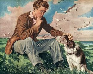 John Bull 1940s UK dogs mans best friend a man and his pets friends companions friendship