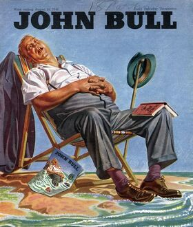 John Bull 1946 1940s UK holidays sleep sleeping beaches deck chairs magazines