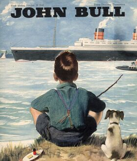 John Bull 1946 1940s UK nautical fishing steam ships cruises boats magazines dogs