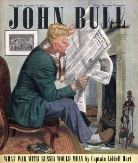John Bull 1946 1940s UK reading newspapers fires magazines