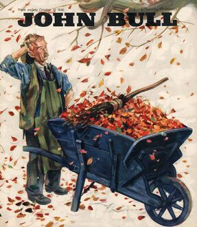 John Bull 1946 1940s UK seasons Autumn leaves wheelbarrows magazines