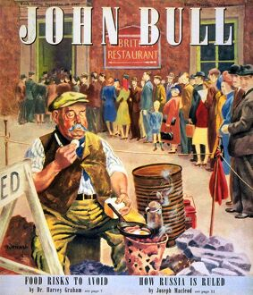 John Bull 1947 1940s UK breakfast cooking fry-up eating food bacon and eggs restaurants