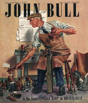 John Bull 1947 1940s UK cobblers shoe menders repairing man shoes magazines repairs