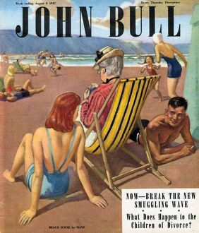 John Bull 1947 1940s UK holidays beaches seaside deck chairs magazines flirting
