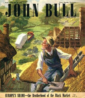 John Bull 1947 1940s UK magazines thatched roofing roofs thatcher