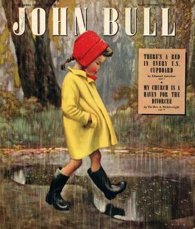 John Bull 1947 1940s UK raining stepping in puddles seasons winter magazines