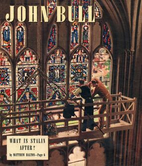 John Bull 1948 1940s UK churches stained glass windows repairs repairing magazines