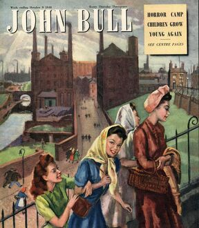 John Bull 1948 1940s UK factory, factories, woman at work magazines