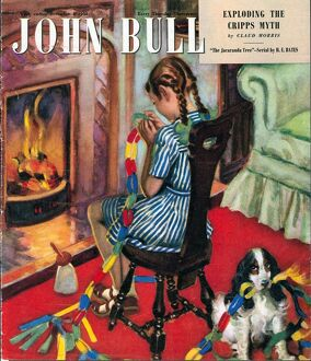 John Bull 1948 1940s UK fireplaces fires paper chains naughty dogs spaniels girls