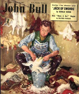 John Bull 1949 1940s UK farms farmers plucking chickens magazines