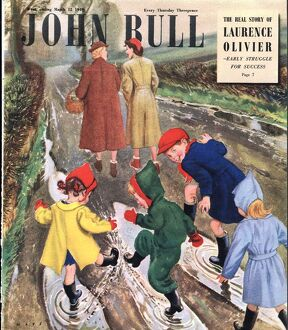 John Bull 1949 1940s UK puddles winter raining magazines
