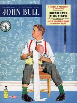 John Bull 1950s UK babies fathers and babies changing nappies dads magazines baby