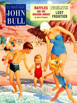 John Bull 1950s UK holidays expressions beaches seaside sea water crying upset swimming