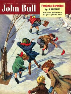 John Bull 1950s UK seasons windy snow cold winter wind magazines