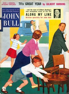 John Bull 1950s UK watching televisions magazines