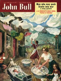 John Bull 1951 1950s UK washday washing lines housewife housewives magazines