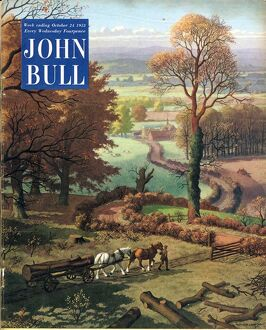 John Bull 1953 1950s UK rural farming countryside horses logs farms magazines