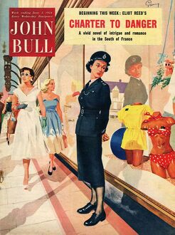John Bull 1954 1950s UK womens summer window shopping swimwear magazines clothing