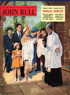 John Bull 1955 1950s UK babies vicars christenings churches priests magazines baby