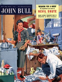 John Bull 1955 1950s UK moving removals housewife housewives packing kitchens woman