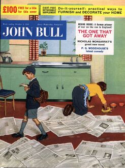 John Bull 1956 1950s UK cleaning housewives housewife scrubbing floors school uniforms