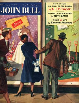 John Bull 1956 1950s UK couples window shopping dresses tools magazines clothing clothes