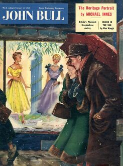 John Bull 1956 1950s UK womens couples window shopping magazines clothing clothes