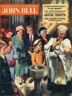John Bull 1957 1950s UK christenings baptizing churches vicars priests fonts magazines