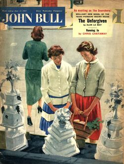 John Bull 1957 1950s UK women friends weddings cakes window shopping dreaming magazines