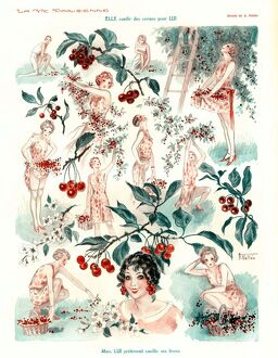 La Vie Parisienne 1920s France A.Vallee cc cherry picking fruit orchards gardening