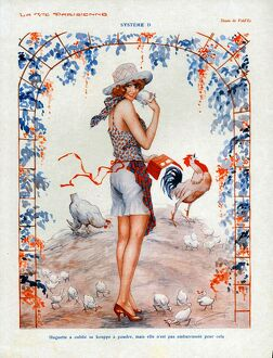 La Vie Parisienne 1920s France cc glamour farms chickens cockerels valentines eggs