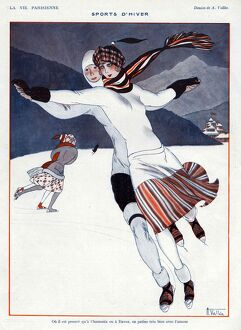 La Vie Parisienne 1923 1920s France A Vallee illustrations ice-skating ice skating