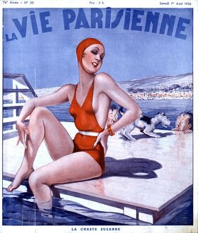 La Vie Parisienne 1936 1930s France magazines glamour womens bathing swimming costumes