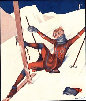 Le Sourire 1920s France winter skiing magazines sports