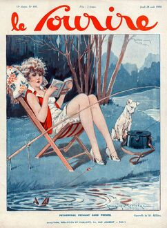 Le Sourire 1930 1930s France magazines fishing reading books dogs illustrations dog book