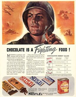 NestleA•s 1940s USA propaganda chocolate sweets WW2 Chocolate Is A Fighting Food
