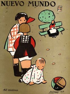 Nuevo Mundo 1919 1910s Spain cc magazines playing babies balls games childrenA•s