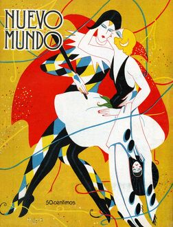 Nuevo Mundo 1927 1920s Spain cc magazines carnivals masquerade clowns pierrot kissing
