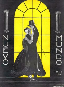 Nuevo Mundo 1927 1920s Spain embracing hugging art deco cc evening dress top hats