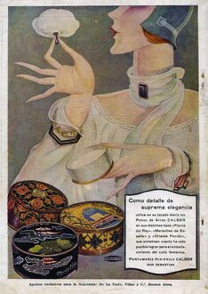 Perfumeria 1929 1920s Spain cc applying womens powder