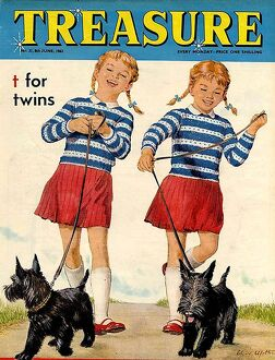 Treasure 1963 1960s UK mcitnt sisters twins dogs childrens childrenA•s dog magazines