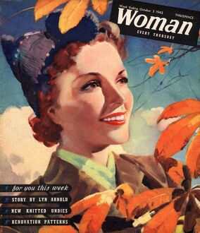Woman 1942 1940s UK seasons autumn leaves magazines