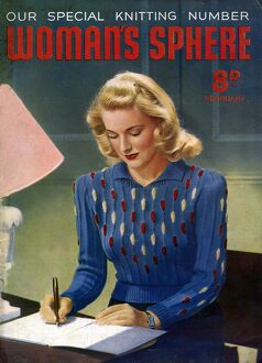 WomanA•s Sphere 1940s UK womens knitwear Womans jumpers sweaters writing letters