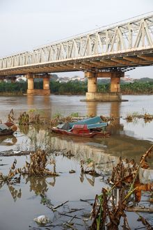 Banks of the Red River in Hanoi, Vietnam